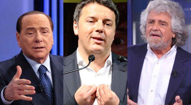 Renzi, Grillo e Berlusconi: il responso delle urne